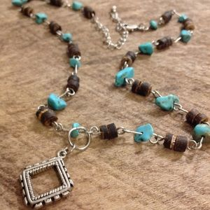 3/$15: Turquoise & Brown Handmade Charm Necklace